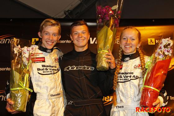 Norgescupen Formula Basic fr v: Theodor Olsen, Alf Marius Loe Sandberg och Thea Olsen.